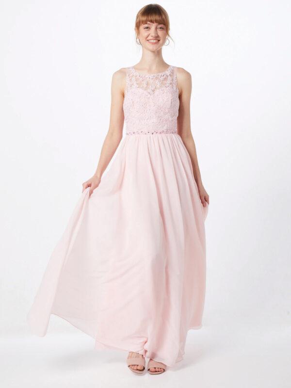 lichtroze lange jurk met kant