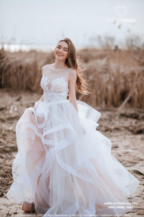 Losse top en rok voor bruid in boho stijl