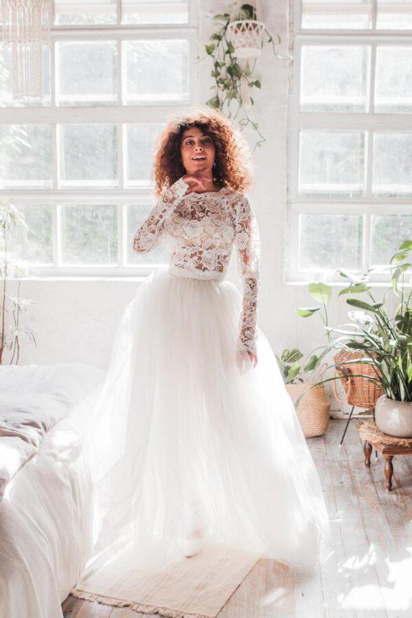Losse top en rok voor boho bruid
