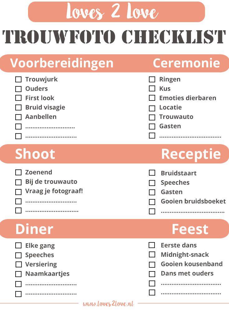 trouwfoto checklist