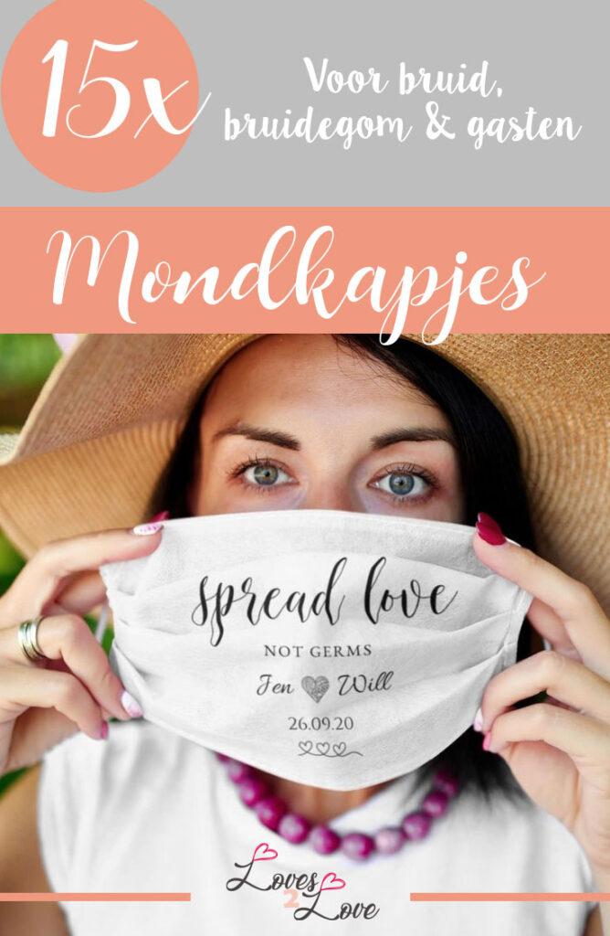 15 x de mooiste mondkapjes voor bruiloften. Voor bruid, bruidegom en hun bruiloftsgasten. Maar ook voor vrijgezellenfeest of met gepersonaliseerde tekst.